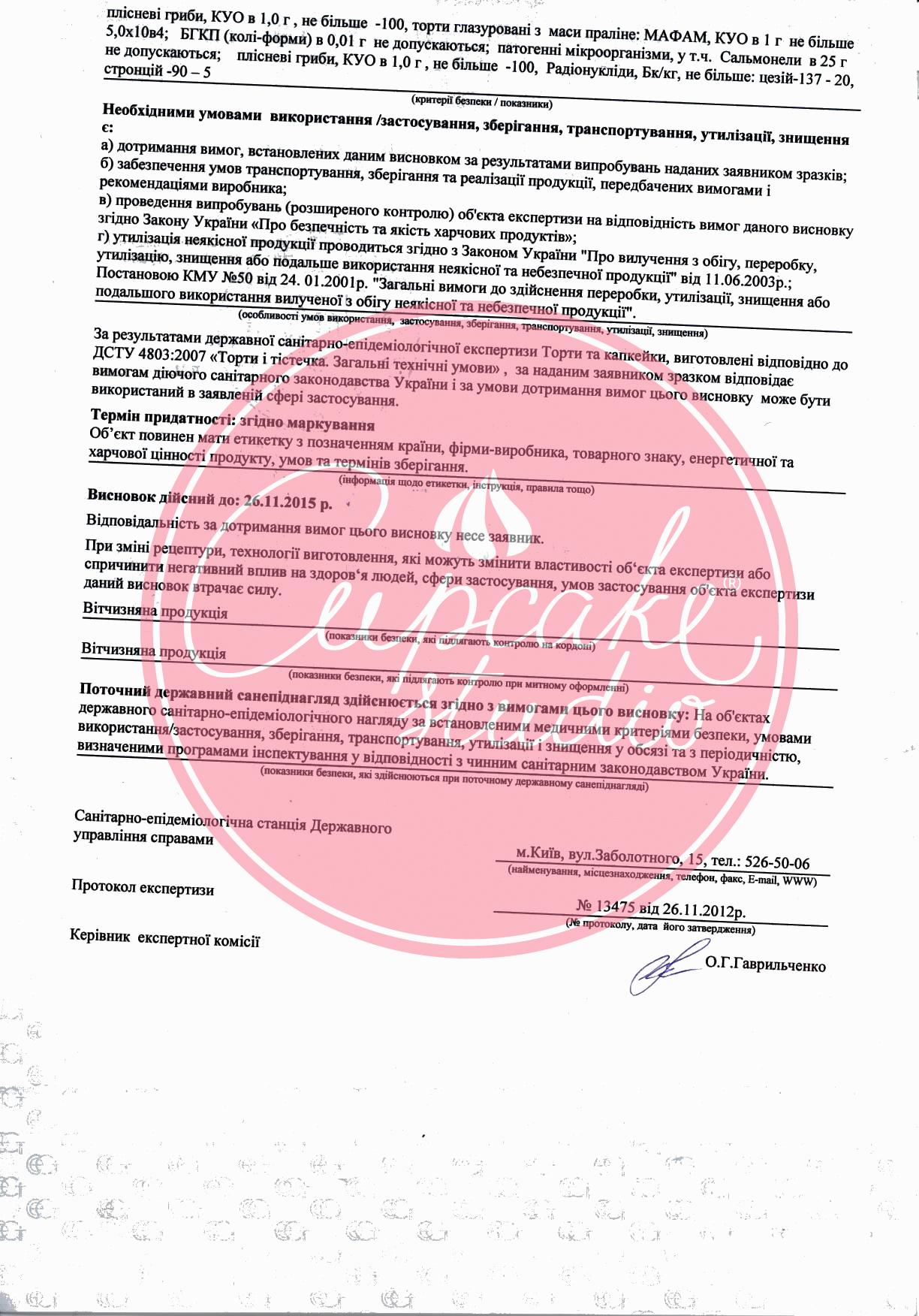 Сертификат на кондитерскую продукцию Капкейк