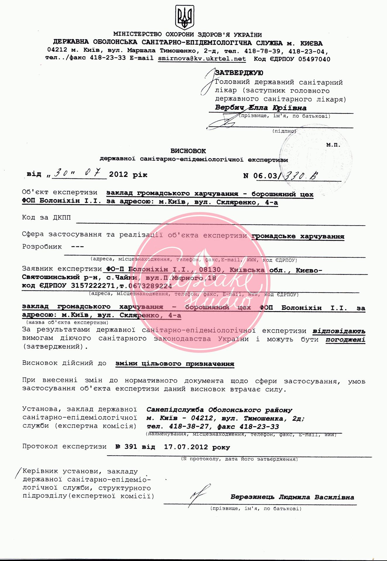Сертификат на кондитерскую продукцию Капкейк Студио