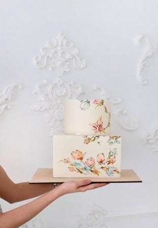 свадебный торт с рисунком