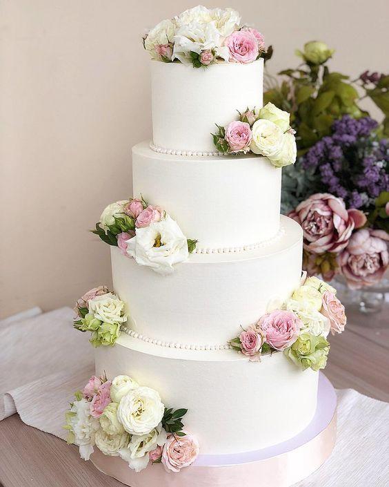 Свадебные торты с цветами