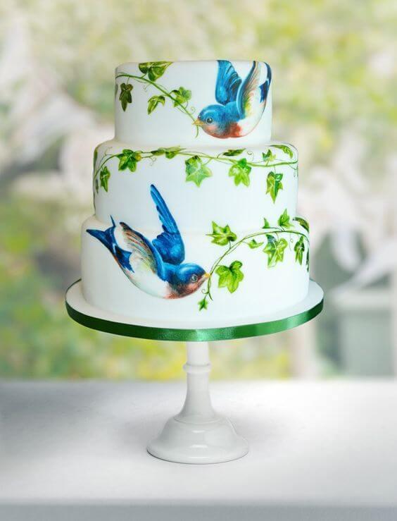 торт с птицами