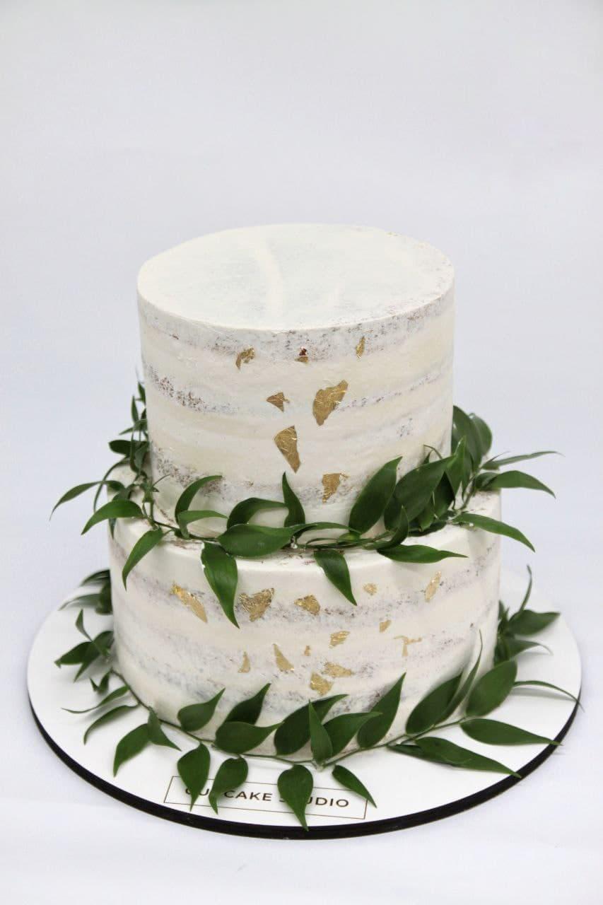 торт свадебный с золотом